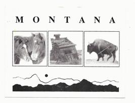 Montana Images Bison Buffalo Horses Cabin Vtg Keyshae Postcard - $4.99