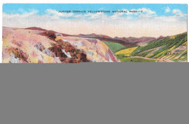 WY Yellowstone Park Jupiter Terrace Vtg E C Kropp Linen Postcard Wyoming - $4.84