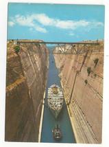 Greece Corinth Canal Ship Channel Vtg Postcard 4X6 - $4.84