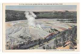 WY Yellowstone National Park Excelsior Geyser Vtg Haynes Linen Postcard ... - $4.99