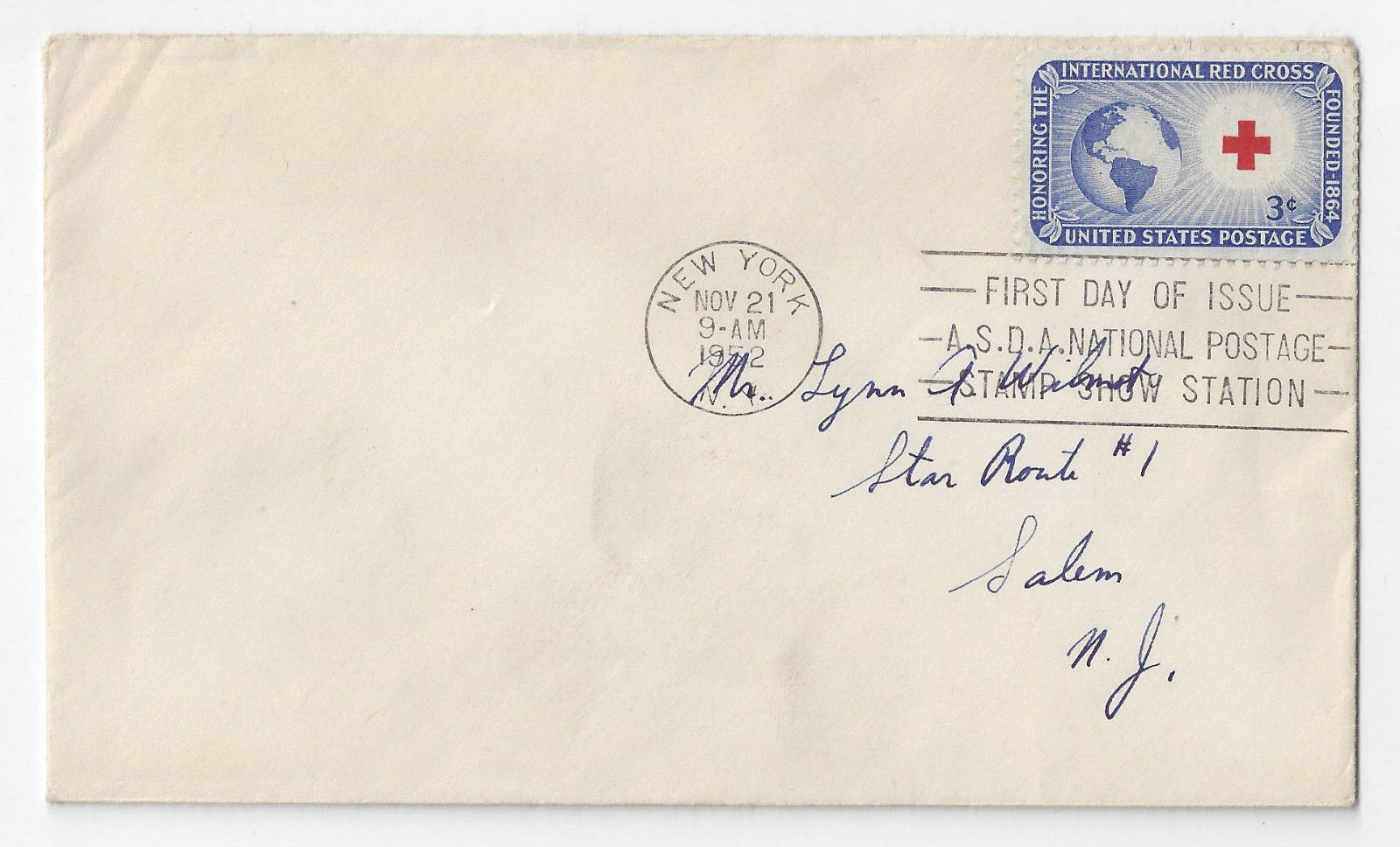 FDC Sc 1016 Red Cross Issue 1952 ASDA National Stamp Show Station