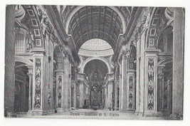 Italy Roma Rome Basilica S Pietro St Peters Interior Cathedral Vtg Postcard - $4.84