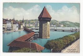 Switzerland Luzern Lucerne Kapellbrucke Wasserturm Vtg E Goetz Postcard ... - $4.84