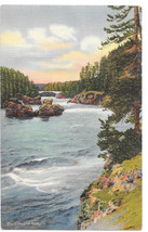 WY Yellowstone Park Rapids above Upper Falls Vtg Gifford NPRy Linen Post... - $4.84