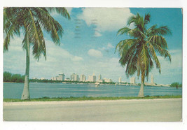 FL Miami Skyline from MacArthur Causeway Vtg Chrome 1957 Postcard - $6.49