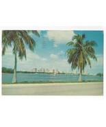 FL Miami Skyline from MacArthur Causeway Vtg Chrome 1957 Postcard - $6.49