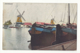 Netherlands Holland Zaandam Windmills Boats Vtg Photochromie Postcard c ... - $6.49