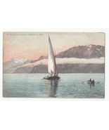 Switzerland Sailboat Lake Barque du Leman Dent du Midi Vtg Postcard c 1910 - $4.99