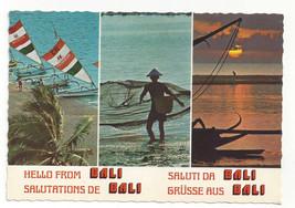 Bali Greetings Multiview Sanur Beach Outriggers Fish Vtg Indonesia Postc... - $5.52