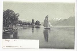 Switzerland Vevey La Tour de Peilz Harbour Sailboat Vtg UDB Postcard ca ... - $4.99