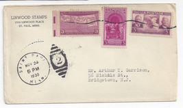 Saint Paul MN Commercial Cover 1939 Duplex Linwood Stamps sc 854 856 858 - $4.99
