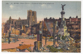 WWI Reims Place d'Erlon after bombardment Fountain Cathedral Postcard - $6.78