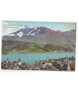 Switzerland Luzern Lucerne mit Rigi Suisse Alpen Vtg E Goetz Postcard c ... - $4.84