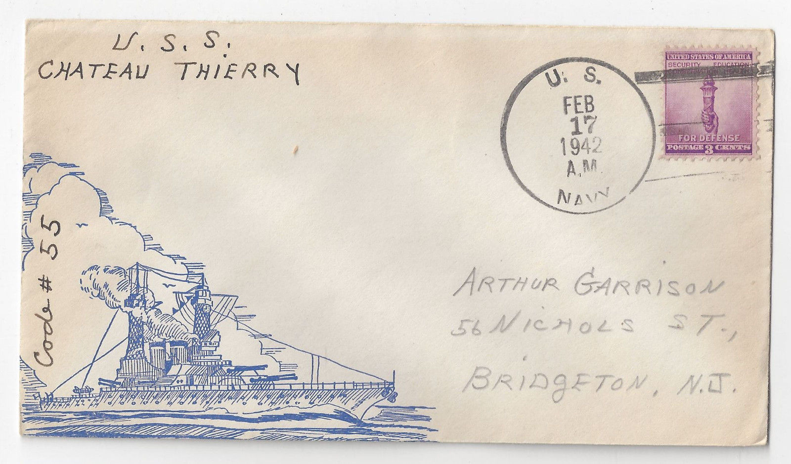 USS Chateau Thierry AP-31 Naval Cover 1942 Cachet