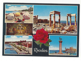 Greece Rhodes Multiview Beach Ruins Harbor Port View Vtg Postcard 4X6 - $4.99