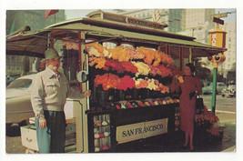 CA San Francisco Street Flower Vendor Stand Stockton & Geary Vintage Postcard - $9.95