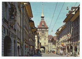 Berne Switzerland Market Street Prison Tower Marktgasse Vintage Postcard... - $6.49