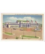 Washington DC Union RR Station and Columbus Memorial Fountain Vtg Linen ... - $6.49