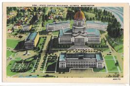 WA Olympia State Capitol Building Vtg Linen Postcard 1942 Washington - $6.49
