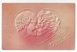 Valentine Postcard Couple Kissing Airbrushed Embossed Vintage Postcard - $5.52