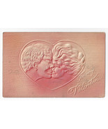 Valentine Postcard Couple Kissing Airbrushed Embossed Vintage Postcard - $5.52