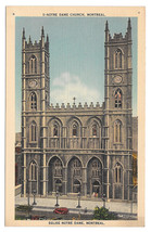 Canada Montreal Quebec Notre Dame Cathedral Church Vtg Linen Postcard - $3.99
