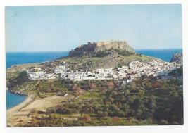Greece Rhodes Lindos Modern City under Acropolis Vtg Postcard 4X6 - $4.99