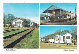 Railroad Depot Plains Georgia Multiview Jimmy Carter Office Vintage Postcard 4X6 - $5.62