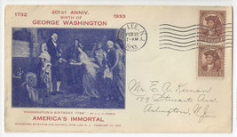 1933 Washingtons Birthday 201st Anniversary Fort Lee NJ Cacheted Cover - $5.62