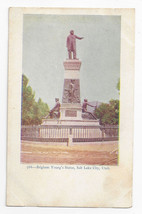 Salt Lake City Utah Brigham Young Statue Monument Vintage Postcard ca 19... - $5.62