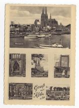 Germany Gruss aus Koln am Rhein Cologne Multiview Vintage 1954 Postcard 4X6 - $5.81