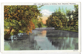 WY Cheyenne Lake Minnehaha Holliday Park Vtg Sanborn Postcard Wyoming - $5.81