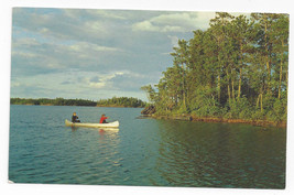 WI Silver Canoe Vintage Thomas Peters Lake Photo Wisconsin Postcard - $5.81