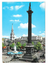UK England London Trafalgar Square Nelsons Column Vtg Hinde Postcard 4X6 - $4.99