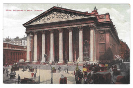 UK London Royal Exchange and Bank Vtg Postcard - $5.81
