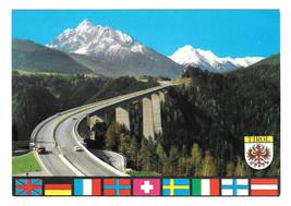 Austria Tyrol Europabrucke Europes Bridge Serles Glaciers Stubai Postcar... - $5.62