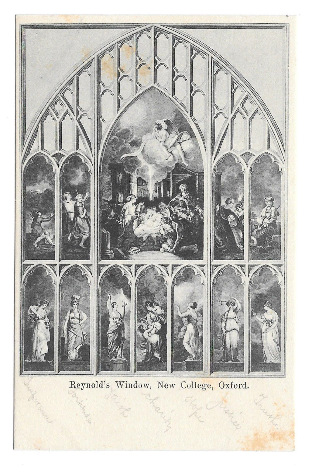 UK Oxford Reynold's Window New College Vintage Postcard