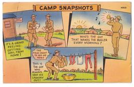 Military Humor Camp Snapshots Vintage WWI Tichnor Linen Postcard - $5.81