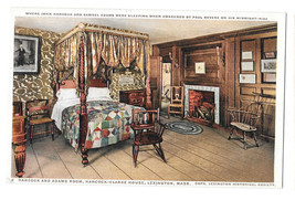 MA Lexington Hancock Clarke House Hancock Adams Room Vtg Postcard Phostint - $4.99