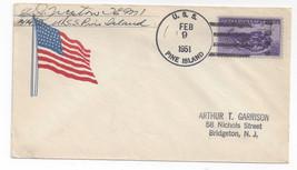 Naval Cover USS Pine Island AV-12 Seaplane Tender 1951 Flag Cachet - $5.62