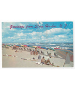 Greetings from Stone Harbor NJ Beach Chairs Umbrellas Surf Ocean Vntg Po... - $4.99