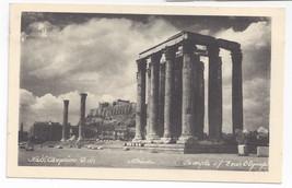 Greece Athens Olympia Temple of Zeus Vintage Postcard - $5.62