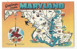 MD Maryland Map Greetings Landmarks State Bird Flower Vtg 1950s Postcard - $4.99