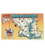 MD Maryland Map Greetings Landmarks State Bird Flower Vtg 1950s Postcard - $4.99