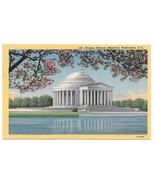Washington DC Jefferson Monumnet Curteich B. S. Reynolds Vtg Linen Postcard - $5.81