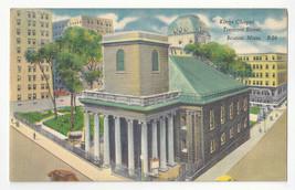 MA Boston Kings Chapel Tremont Street Vtg 1950s Linen Postcard - $4.84