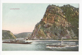 Germany Loreleyfelsen Lorelei Rock Rhein River Boats Vtg Postcard c 1910 - $5.81