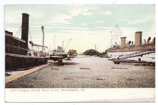 Primary image for PA Philadelphia League Island Navy Yard 1905 Vintage UDB Glitter Post Card