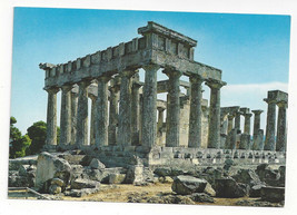 Greece Aegina Temple of Afaias Aphaea Ancient Ruins Archaelogy Vtg Postc... - $5.62