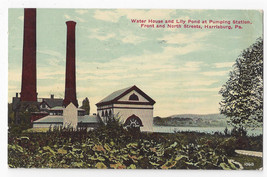 Harrisburg PA Pumping Station Water House Lily Pond 1917 Postcard - $7.56